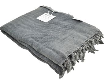 Stonewashed Turkish Throw Blanket in Charcoal Grey / Faded Black, Perfect as a Beach Blanket, Sofa Throw or Partial Bed Cover, Soft ad Cozy