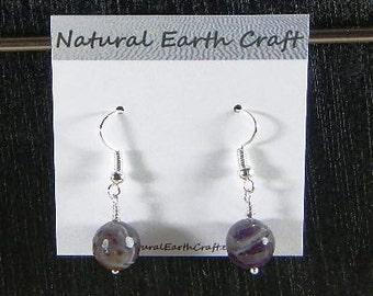 Dark purple faceted amethyst earrings semiprecious stone jewelry gemstone February birthstone packaged in a gift bag 2878  B