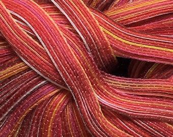 Diakeito DiaMaterie Ribbon Yarn #602 Fiery red orange pink yellow brown 30gr 79y
