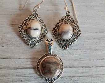Genuine Mexican Porcelain Jasper Pendant and Drop Earrings in Sterling Silver Artisan Made