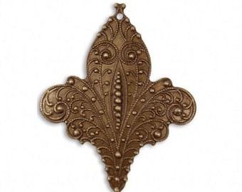 Vintaj Brass Fleur de Lis Pendant or Focal Antiqued Brass Ox Vintage Style 46.5 x 38.5mm Qty 1