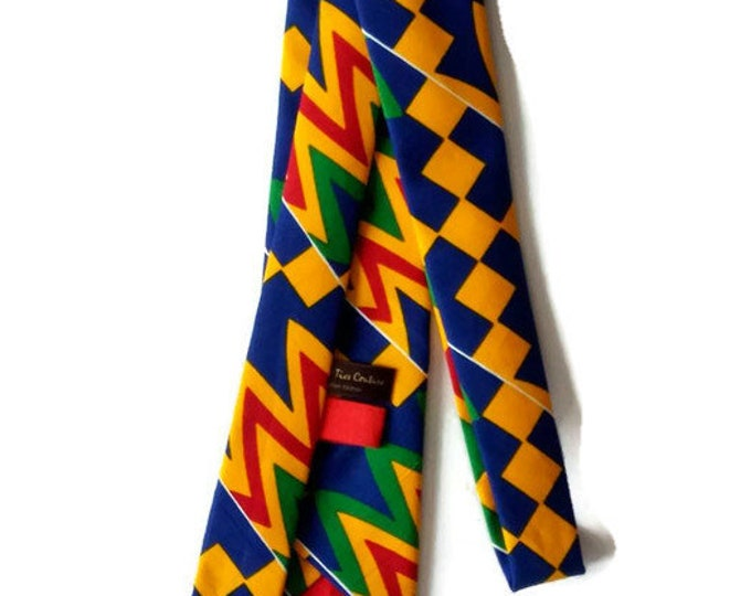 Mens Royal Blue Yellow Red Mix African Kente Necktie, Pocket Square And Matching Storage Pouch Set