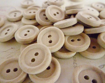 Round Wooden Buttons, Half Inch Wood Buttons, Pack of 20