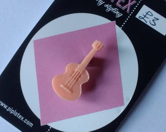 Vintage style pastel mini guitar brooch