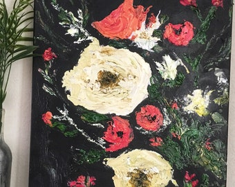 Abstract imposto oil floral painting/18x24