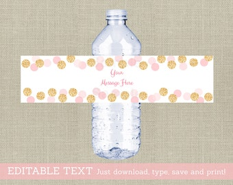 Glitter Water Bottle Labels / Glitter Baby Shower / Glitter Dots / Blush Pink & Gold / Printable INSTANT DOWNLOAD Editable PDF A225