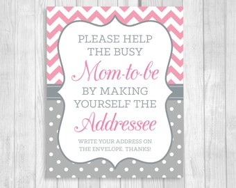Printable Help the Busy Mom-to-Be 5x7 or 8x10 Write Your Address Baby Shower Sign - Pink and Gray Chevron Polka Dots - Instant Download