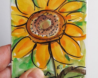 Original Sunflower Watercolor Painting 3x4 inches