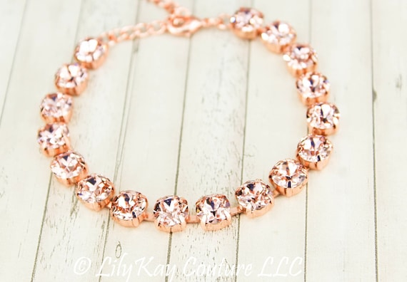 Blush Pink Rose Gold Bridal Bracelet Rose Gold Tennis Bracelet