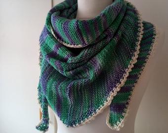 Knitted stole Katja Green purple triangle merino silk hand dyed