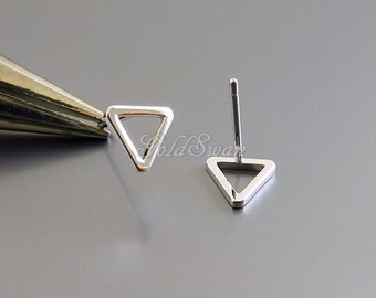 4 shiny rhodium silver tiny 8mm triangle post earrings, silver geometric earrings, jewelry 1068-BR-8 (shiny silver)