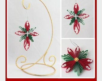 DIY Pattern: Cross and Poinsettia Ornaments; Paper Filigree/Quilling; Husking; Comb Quilling Tutorial