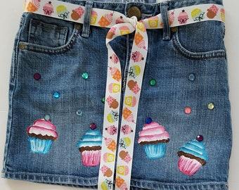 Girl's Denim Skirt - Hand Painted Cupcakes and Glam  Skirt- Upcycled Denim - Great Party Skirt - Jean Skirt - Size Girl's 8R