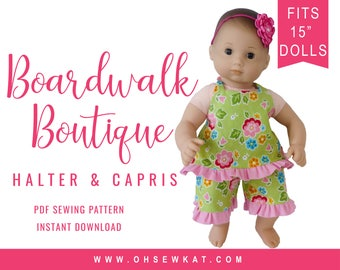 Bitty Baby Doll Clothes Sewing Pattern - 15 inch Baby Boardwalk Boutique Halter Top and Ruffle Capri pants easy to sew for baby doll