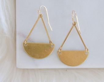 Half Moon Brass Earrings, Small