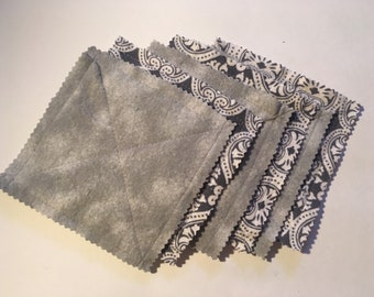 Gray flannel coasters, set of 6