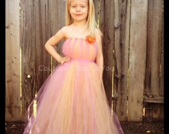 Sherbet Tulle Dress, pink tulle dress, orange tulle dress, tulle tutu dress, pink dress, pink and orange dress, flower girl dress