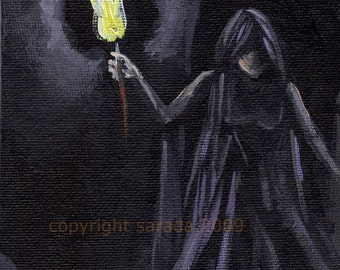 Original gothic ghost acryling painting, 5 x 7 black white monochrome with torch, crypt, Halloween art horror metal doom witch woman