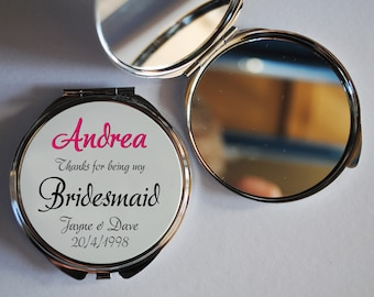 Wedding Bridesmaid Personalised Compact Mirror or printed Brows on fleek, Kiss Makeup, Aye Canny, Lookin Good, Wowza, Mother Pucker compacts