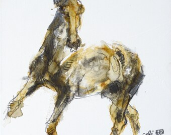Mixed Media Painting of a Horse, Equine Art, Animal, Modern & Contemporary Original Fine Art