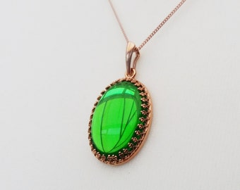 Rose Gold Vermeil Emerald Green Jewel Necklace, Vintage Czech Glass, May Birthstone, Also in Sterling Silver and Yellow Gold Filled