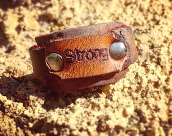Leather Positive Affirmation Ring - Strong
