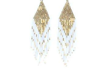 Beaded White and Gold Chandelier Earrings, Gift for Her, Dangle Earrings, Statement Earrings, Boho Tassel Earrings, Summer Earrings