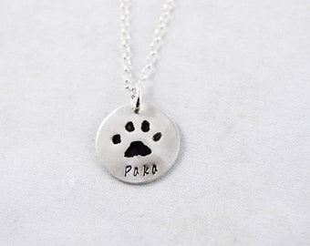 Silver Cat or Dog Paw Print on a Custom Pendant necklace / keychain - Pet Memorial Jewelry, Dog or Cat Lover, Pet Jewelry, Paw Print Jewelry