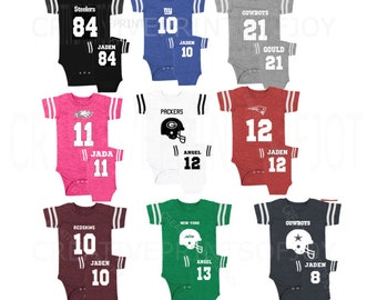 Personalized FOOTBALL inspired front/back option design jersey bodysuit! Fans New York, Dallas Cowboys, Eagles, Patriots, GB Packers + More!