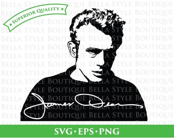 James Dean and Signature svg png eps cut file