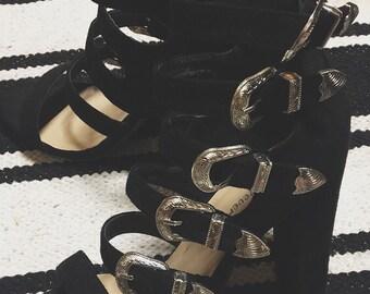 Used Black Buckle Heels