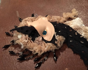 Broken Creepy Doll Face Fascinator