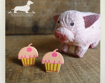 DOLLAR DEAL! Cherry Top. Post Earrings -- (Cute, Pink, Cupcake, Muffin, Kitcsh, Funny, Foodie, Birthday Gift Under 5, Summer, Food Earrings)
