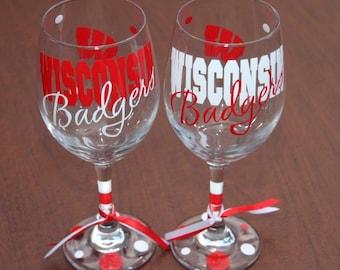 Wisconsin Badgers Glassware, Sports, Football, Go Badgers, Badgers Gifts, Badgers Fan