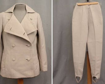 RARE! 1960's Beige Equestrian Suit - 60's Jacket and pants - Size Xs #1737