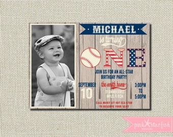 Baseball Invitation, Baseball Birthday Invitation, Vintage Baseball Invitation, First Birthday Invitation, Red, Navy, Vintage, Digital