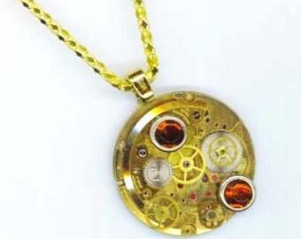 Steampunk Vintage Golden Pendant . 17 Jewel Bulova Watch Mechanics . Industrial Victorian Gothic - Remember by enchantedbeas on Etsy