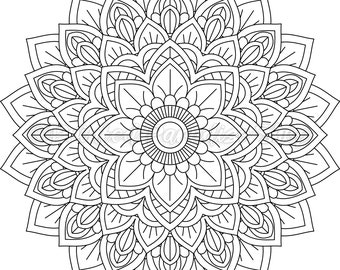 Floral Mandala 002 Coloring Page, Adult Coloring Page, Coloring Instant Download, Printable Coloring Page