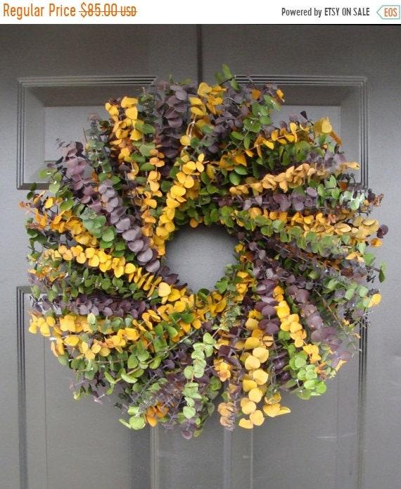 SUMMER WREATH SALE Dried Floral Wreath- Preserved Eucalyptus Wreath- 20 inch Spring Wreath- Wall Decor-Essential Oil