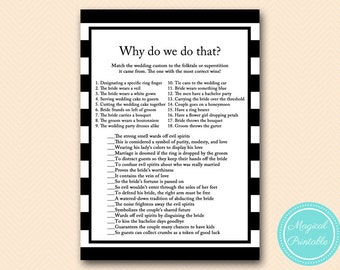 why do we do that, tradition game, wedding custom, Black White Stripes Bridal Shower Games, Modern Bridal, Bachelorette, wedding shower BS19