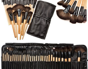 32 Pcs Professional Soft Cosmetic Eyebrow Shadow Makeup Brush Tool Set Kit Bag (US ONLY)
