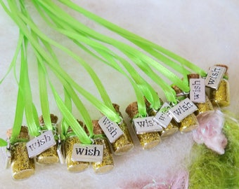 Gold Wish Pixie Party Favors, Glitter Necklace, 10 Party Favors Whimsical Birthday Party Gold Glitter Party Favors Make a Wish Party Favors