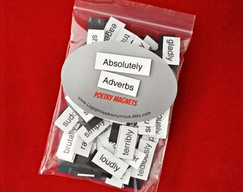 Absolutely Adverbs Poetry Magnets - Refrigerator Word Quote Magnets - Free US Shipping