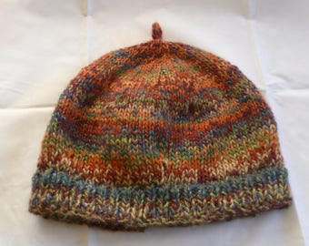 Ladies hand knitted slouchy beanie hat in autumn colours