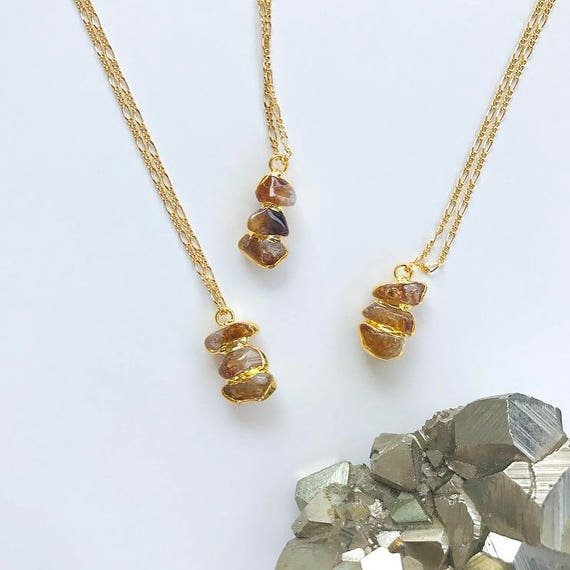 Citrine Trio Necklace // tumbled gold plated citrine nuggets
