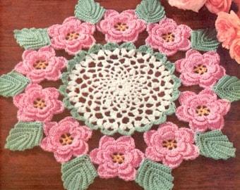 1950's Irish Rose Doily Vintage Crochet Pattern PDF Instant Download 066