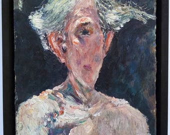 THE SAMUEL ROTHBORT Private Collection. Expressive Self Portrait Painting by American Impressionist & Sculptor, Samuel Rothbort (1882-1971)