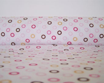 Printed cotton colorful circles, 50 x 50 cm, fabric coupon