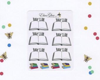 BOOK CLUB Planner Stickers   Hand Drawn