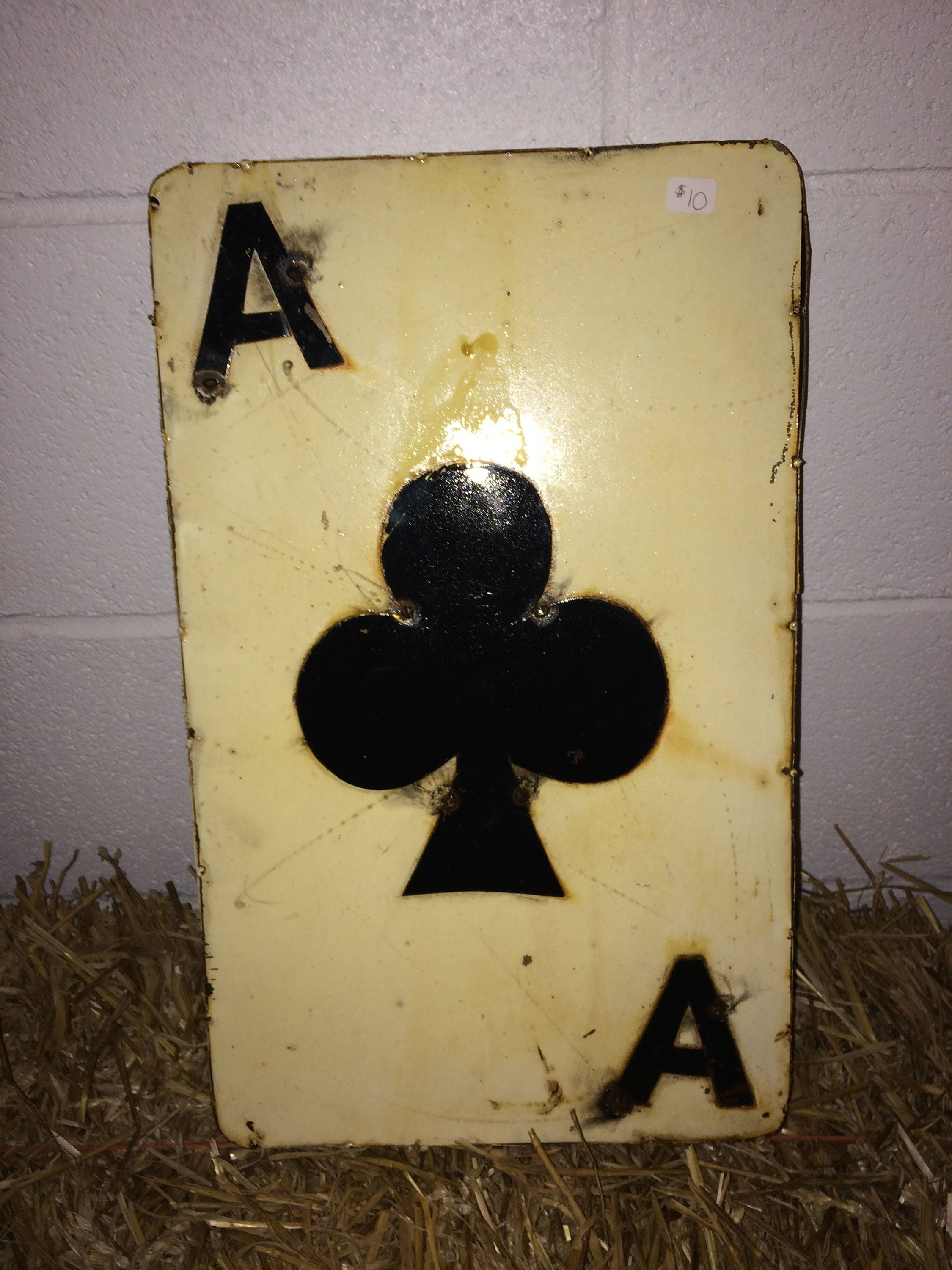 Recycled Metal Ace Card 12 Ace of Club Wall Decor Sign